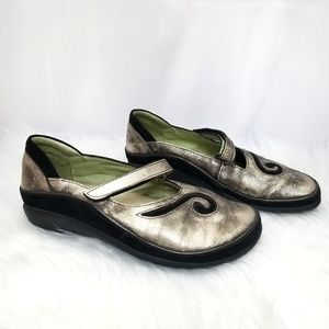 Naot Mary Jane Leather Shoes Black Metallic 37